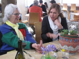 Jean Barkman discussing irises with Louise McRae